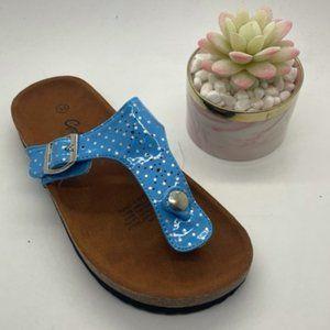 Girls Shoes Grosby Olivia Blue Spot Thong Sandal
